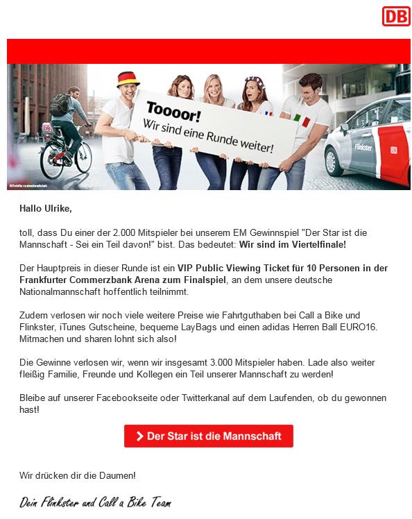 Onlinekampagne EM Beispiel Runden-Newsletter / Kunde Flinkster und Call a Bike / Agentur justZARGES