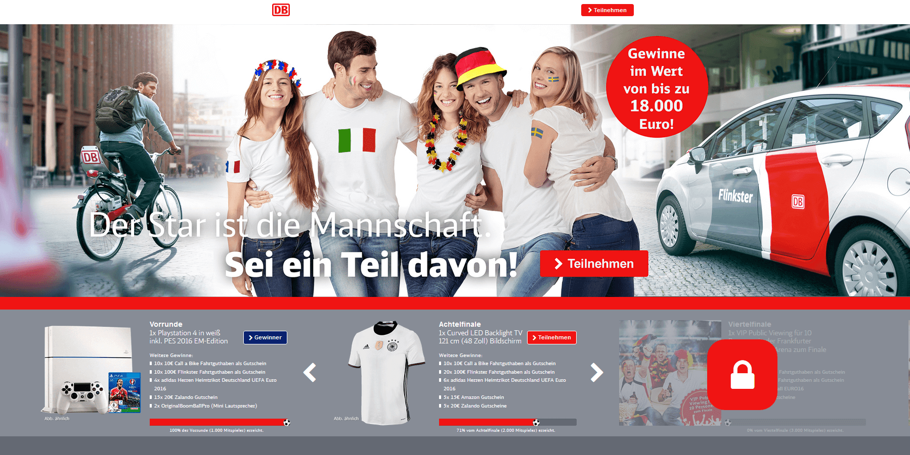 Onlinekampagne EM Beispiel Landingpage / Kunde Flinkster und Call a Bike / Agentur justZARGES