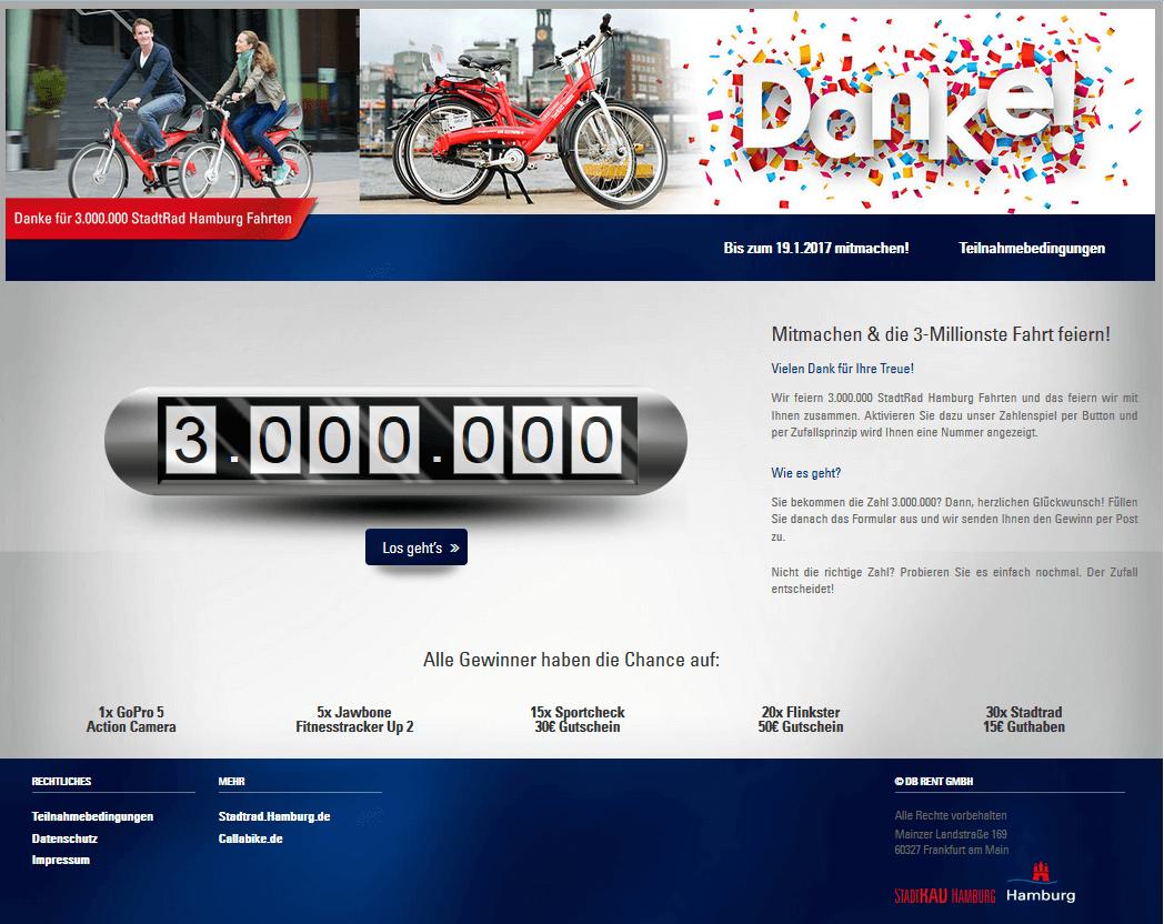Onlinegewinnspiel 3 Millionen StadtRad Hamburg Fahrten - Agentur justZARGES