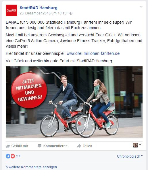 Facebook Posts Onlinegewinnspiel 3 Millionen StadtRad Hamburg Fahrten - Agentur justZARGES