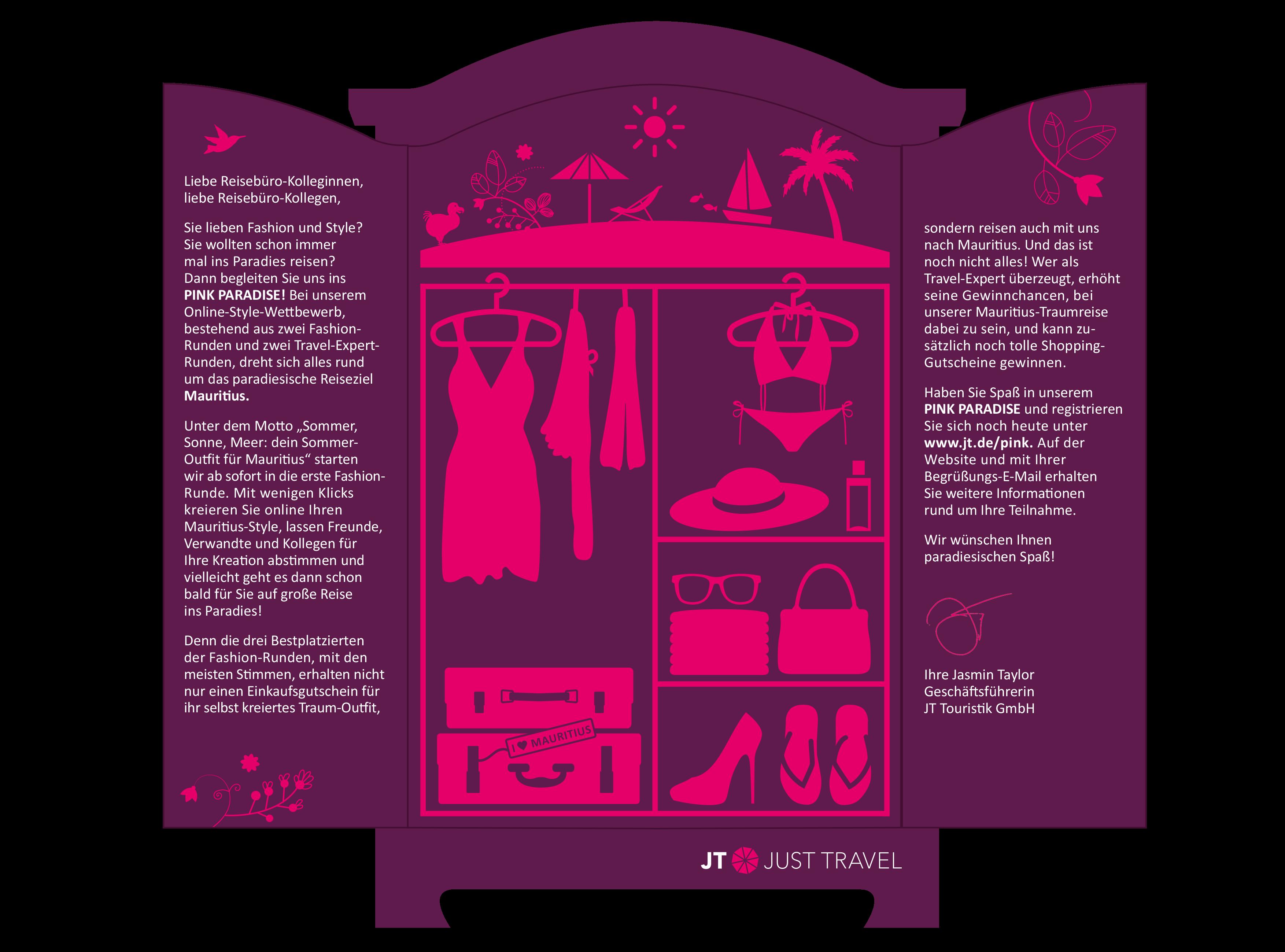 Pink Paradise - Kampagne für JT Touristik