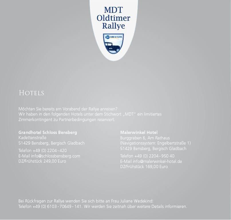 Einladung zur Oldtimer-Ralley von MDT