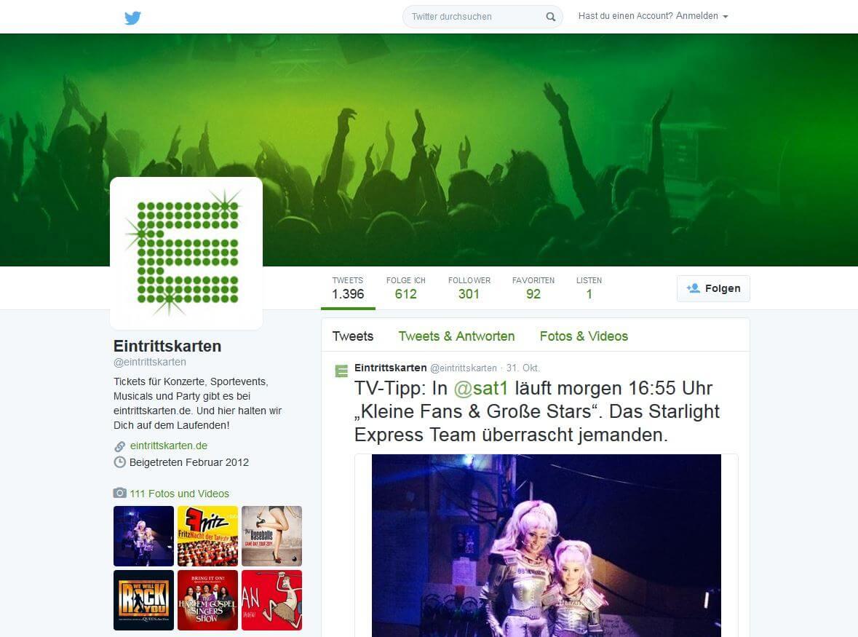 Social Media Betreuung Eintrittskarten.de durch justZARGES