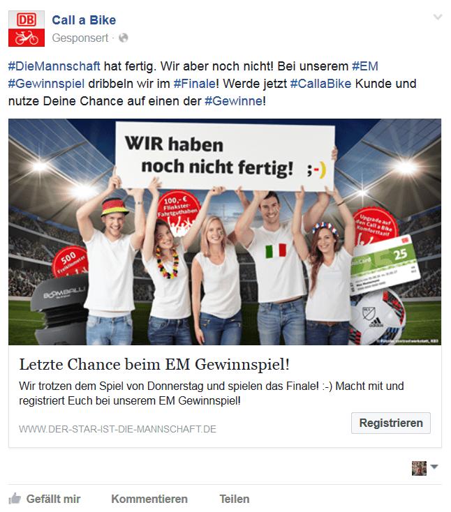 Onlinekampagne EM Beispiel Facebook Werbeanzeige / Kunde Flinkster und Call a Bike / Agentur justZARGES