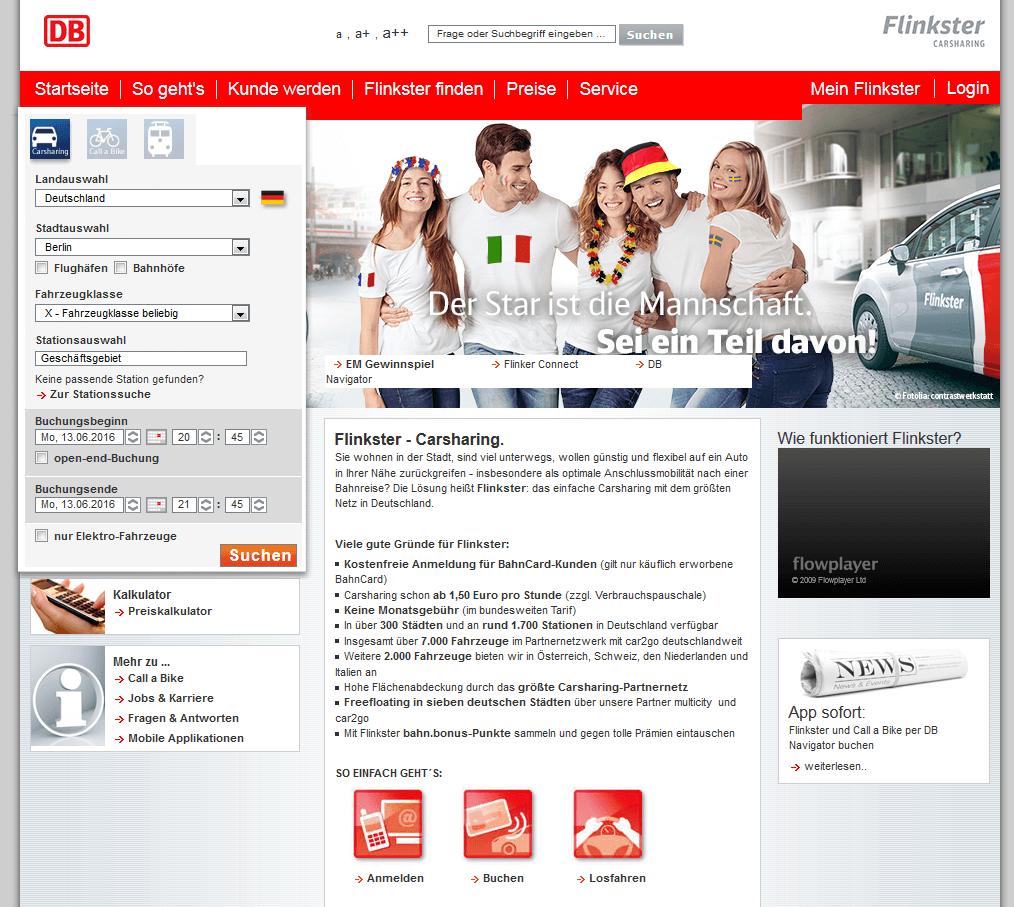 Onlinekampagne EM Beispiel Layouts für externe Websites / Kunde Flinkster und Call a Bike / Agentur justZARGES