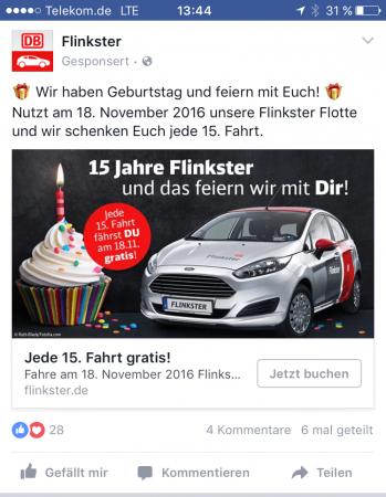 Facebook Werbeanzeige zur Flinkster Geburtstags-Promotion durch die Marketing Agentur justZARGES