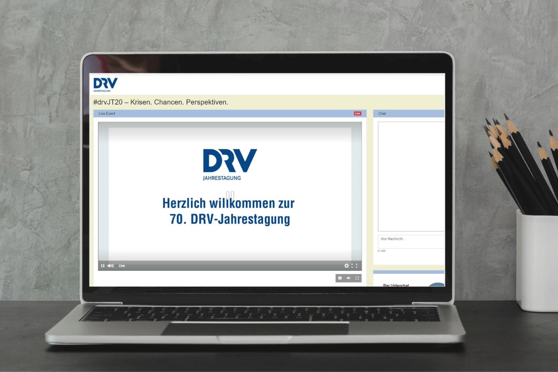 DRV Jahrestagung 2020: Startbildschirm des virtuellen Events